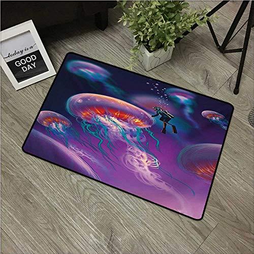 Fantasy,Carpet Flooring Diver with Giant Jellyfish Magical Underwater World Artisan Image Marine Design W 16