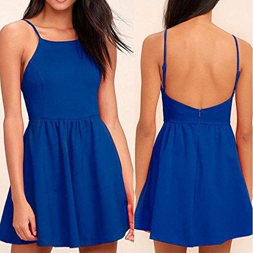 ABsolute moda Escotado Print Hombro desnudo Floral detrás espagueti de Vestidos Mini de por correa ❤️ Mujeres una Skater Beach Azul mujer Style línea tirantes vestido qXwUgR