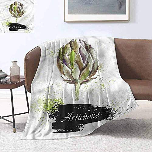 Sofa Blanket Artichoke Fresh Menu Healthy Lightweight All-Season Blanket W60 xL80 Traveling,Hiking,Camping,Full Queen,TV,Cabin