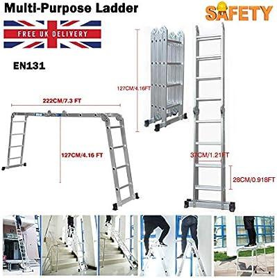 Escalera multiusos 14 en 1 de 4,7 m de extensión, plegable, de aluminio, escalera compacta, antideslizante, 150 kg de carga máxima con 1 bandeja de herramientas: Amazon.es: Bricolaje y herramientas