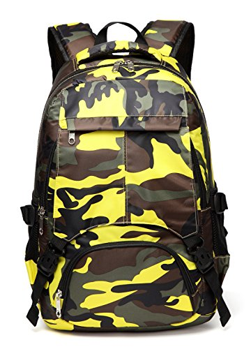 Kids School Bags for Boys Elementary Backpacks Camo Cute Bookbags for Children (Camouflage Yellow)