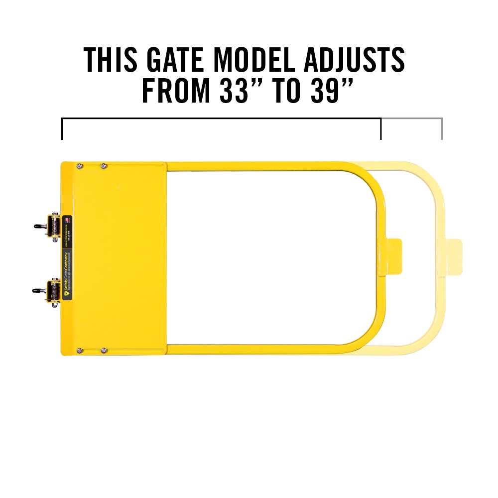 Self-Closing Yellow Safety Gate For Flat Bar or Wall Mount 33-39'' • 100% USA Made