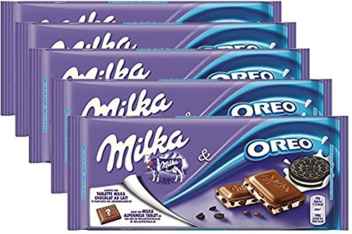 Milka Oreo Alpine Milk Chocolate, 3.5 oz Bar (MILK OREO, PACK OF 5)