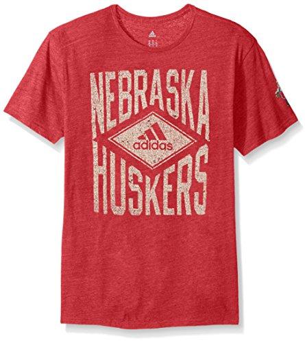 adidas NCAA Nebraska Cornhuskers Adult Men Diamond Mine Tri-Blend S/Tee, Small, Power Red ()