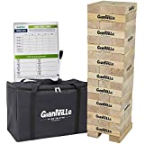 Giant Tumbling Timber Toy - Jumbo Wooden Blocks Floor Game for Kids and Adults – 56 Pieces, Premium Pine Wood, Carry Bag, Life Size – By Giantville