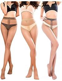 Pantyhose for Women Sheer Stockings 3 Packs Full Length Reinforced T Crotch 15 Denier