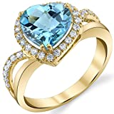 Genuine Swiss Blue Topaz 14K Yellow Gold Leaning Heart-Shaped Ring