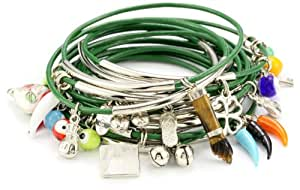 Accessories and Beyond Set of 15 Green Leather Bangles with Assorted Charms
