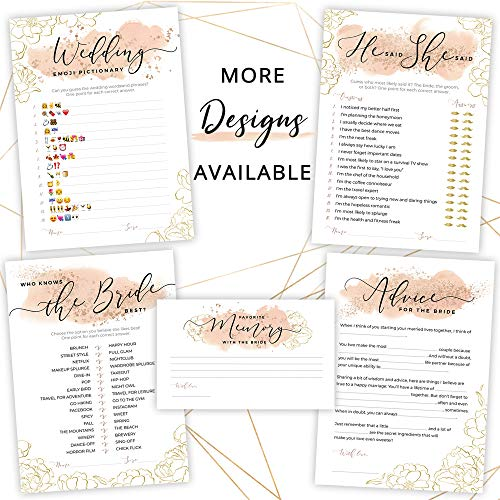 Bridal Shower Games   Set of 5 Games   50 Sheets Each   Floral Blush and Gold Theme   Includes Marriage Advice Cards, Emoji Game, and Favorite Memory