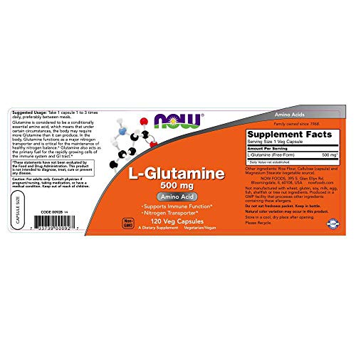 Image of NOW Supplements, L-Glutamine 500 mg, Amino Acid, 120 Capsules