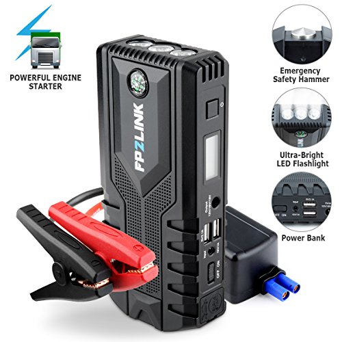 Car Jump Starter with Lithium Battery Booster for 12V Vehicle,Up to 8.4L Gas, 5.5L Diesel Engine,Built-in Safety Hammer,Red Blue Ultra-Bright LED Flashlight and 12000mAh Power Bank by FP2LINK (Blue 6 Led Bright Flashlight)