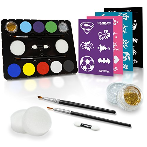 Face Painting Kit + 32 Stencils (Paints 50-80 Faces) Body Makeup, Non-Toxic Paint - Vibrant Colors, Done-For-You Stencils, Shimmering Glitter Gels, Versatile Brushes, Sponges, (Halloween Face Painting Kit)