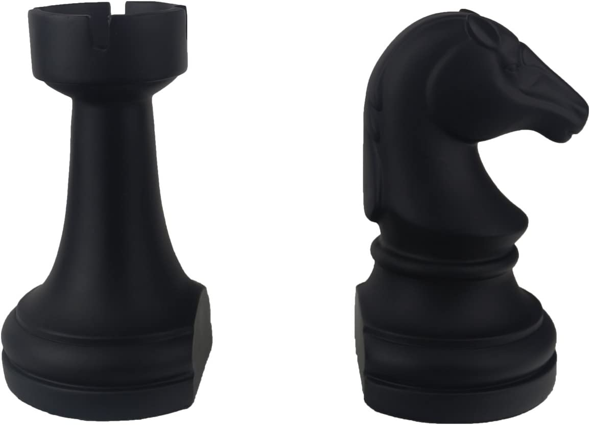 JHP Chess Piece Bookends, 6.7Inch Tall Classic Decorative Resin Book Shelf Organizers with Knight and Rook Book Stopper (Chese Piece)