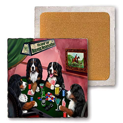 Set of 4 Natural Stone Marble Tile Coasters - Home of Bernese Mountain 4 Dogs Playing Poker MCST48006