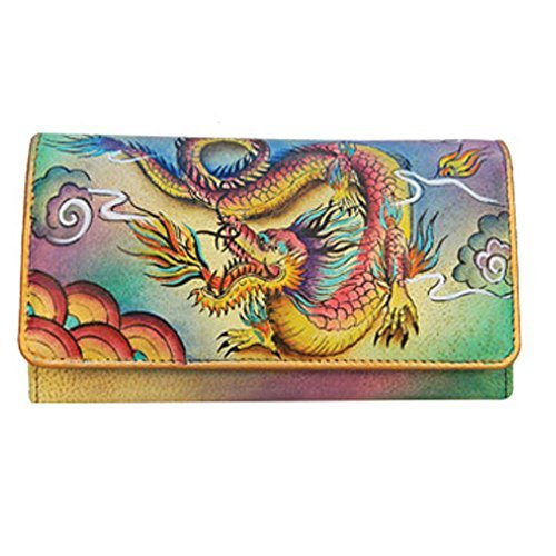 Anuschka Hand Painted Genuine Leather Accordion Flap Wallet (Imperial Dragon)