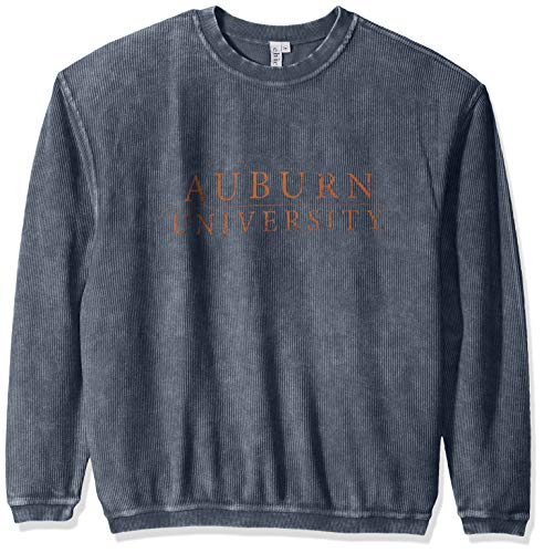 chicka-d NCAA Officially Licensed Auburn University Ladies Corded Crew Sweatshirt/Oversized Sweater- Auburn Tigers Women's Apparel