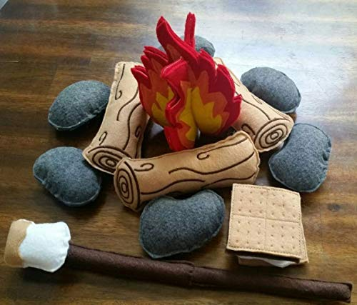 Felt Campfire Play Set for Camping and storytelling Kids Gift for boys and girls (17 piece set) ()