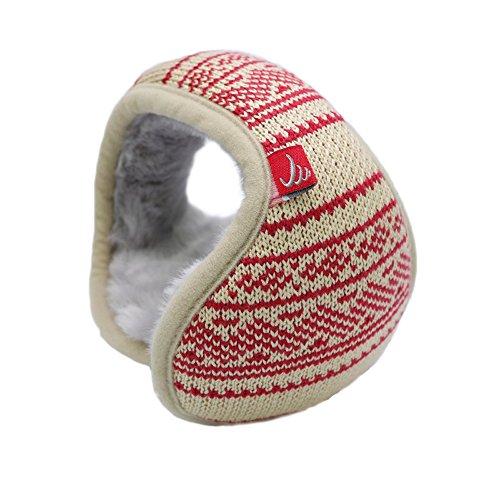 Unisex Knit Foldable EarMuffs Plus velvet Ear Muffs Winter Outdoor Beige Jacquard EarMuffs