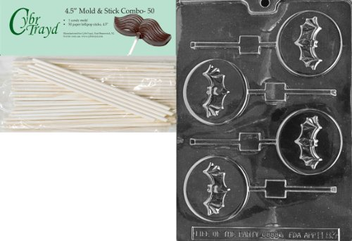 Cybrtrayd 45St50-H083 Bat on Moon Lolly Halloween Chocolate Candy Mold with 50 4.5-Inch Lollipop Sticks -