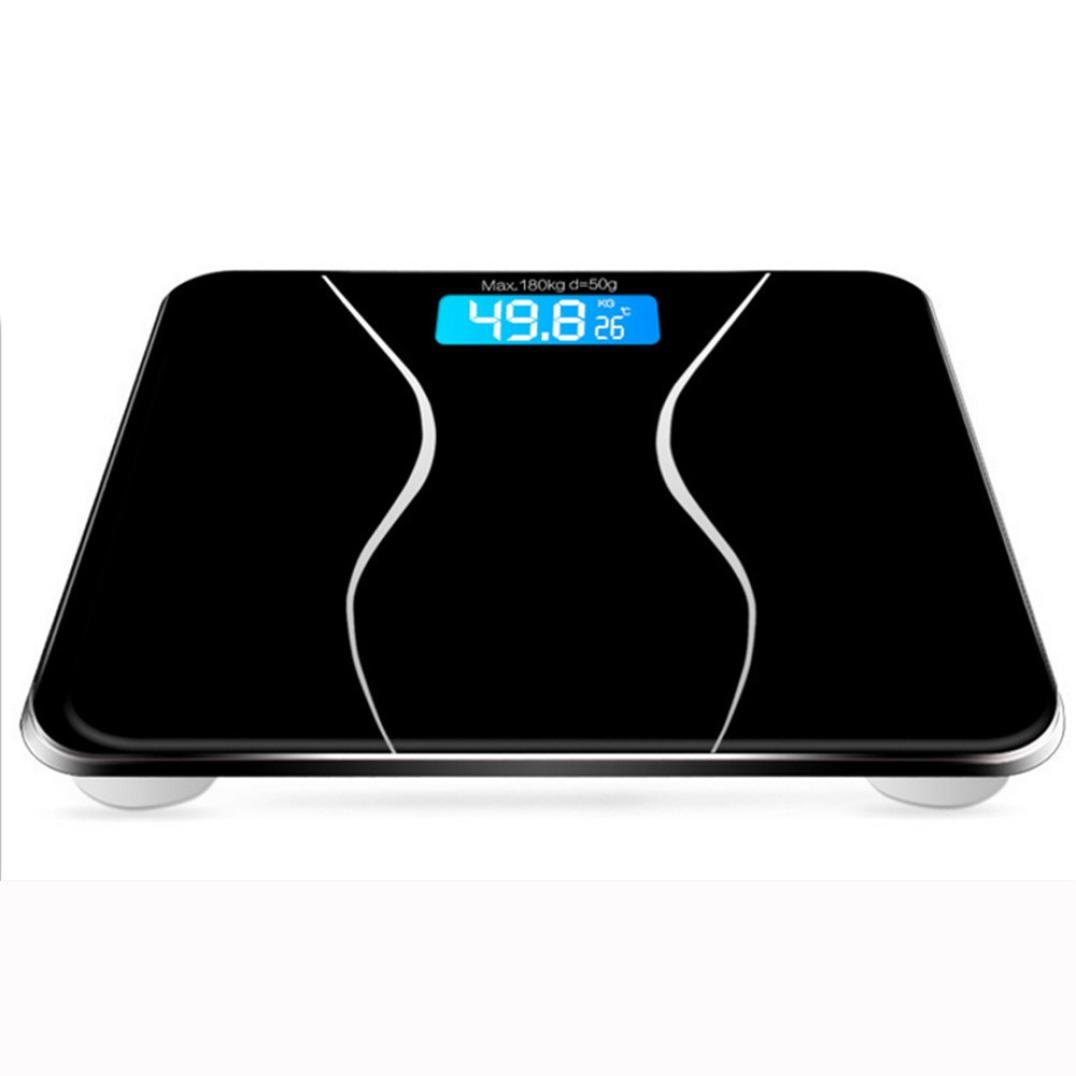 Digital Scale,LtrottedJ New 180KG Electronic LCD Digital Bathroom Body Weight Scale With Battery BK (Black)