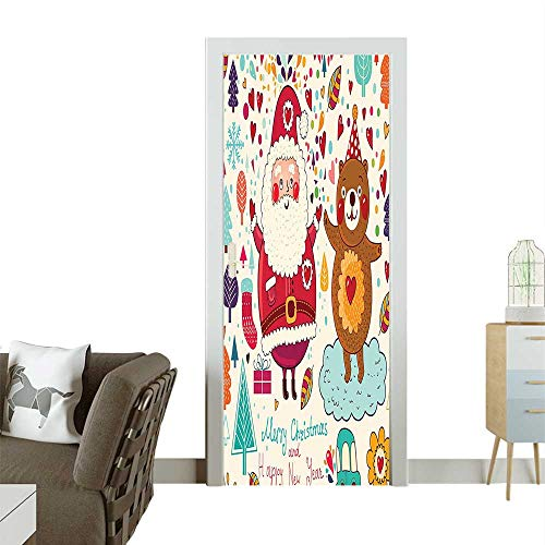 (Homesonne 3D Photo Door Murals Merry Santa and Teddy Bear Christmas Ornaments P y Nursery Easy to Clean and applyW38.5 x H77)