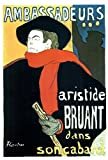 Henri de Toulouse Lautrec Aristide Bruant in His Cabaret at the Ambassadeurs Vintage Stretched Canvas Wall Art 16x24 inch