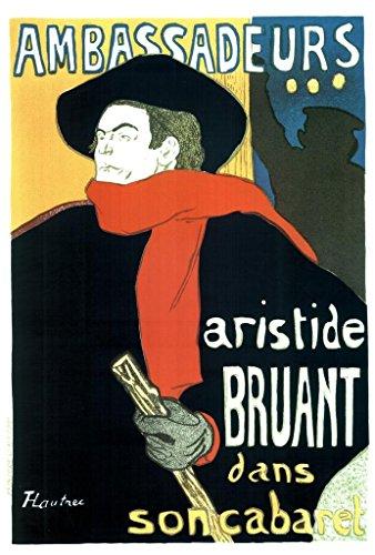 Henri de Toulouse Lautrec Aristide Bruant in His Cabaret at The Ambassadeurs Vintage Poster 24x36 inch