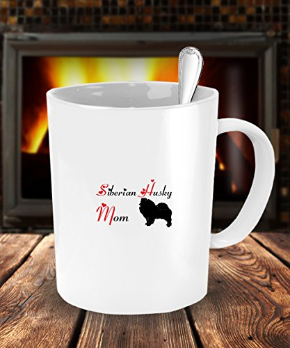 Dog Lover Gifts For Mom - Siberian Husky Dog White Coffee Mug - 15 oz Tea Cup - Ceramic - Dog The Bounty Hunter Costume Wife