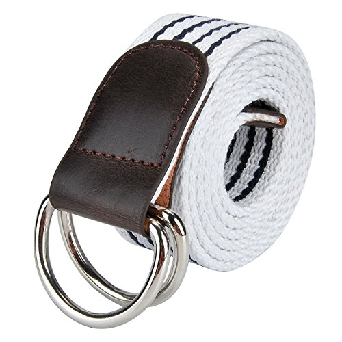 Faleto Canvas Web Belt Double D-ring Buckle Military Style Striped Belts for Men White
