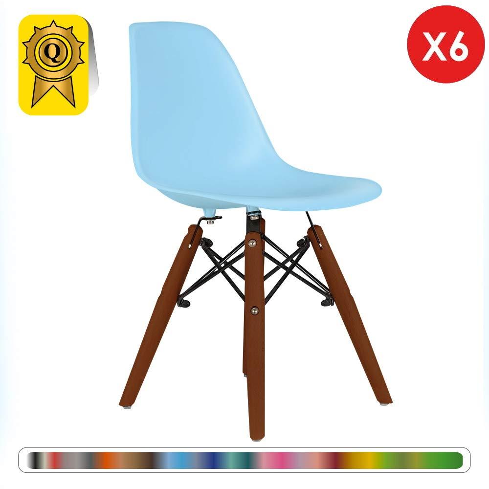 Orange DP-DSWKD-OR-6P Decopresto 6 x Kind-Stuhl skandinavisch Beine Holzlasur Sitz