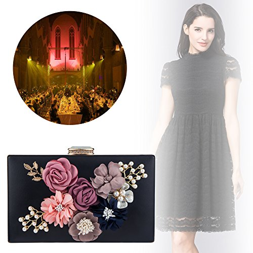 Wedding Shoulder for Black Beaded Bag Bridal Handbag Pearl Flower Women's Clutches Bagood Evening Bags Purses w7fwAq4