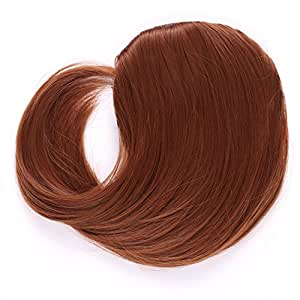 OneDor Side Swept Clip in Clip on Hair Bang Hair Extension Hair Piece (30#-Reddish Brown)