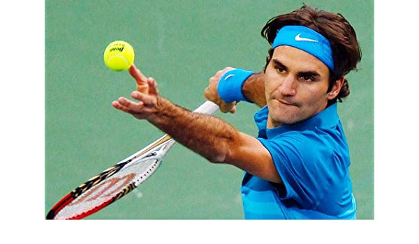 Roger Federer Stunning Tennis Legend Serving Ball 24x36 Poster at Amazons Entertainment Collectibles Store