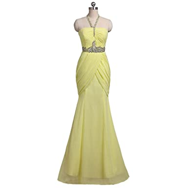 YIPEISHA Womens Beaded Halter Sexy Long Prom Evening Dresses Gowns US 2 Yellow