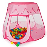MC Star Pop up Play Tent for Toddlers Child Kids,Portable Folding Kids Castle Cubby Princess Play House Indoor Outdoor,Pink ,(100 Balls Included)