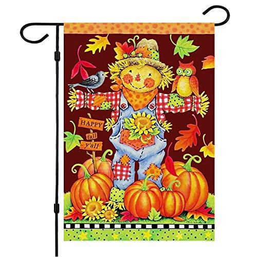 Happy Fall Garden Flags,Double Sided Autumn Flag Scarecrow Harvest Pumpkin Yard Decorations Fall House Flags 12 x 18 Inch Small Fall Yall Garden Flags