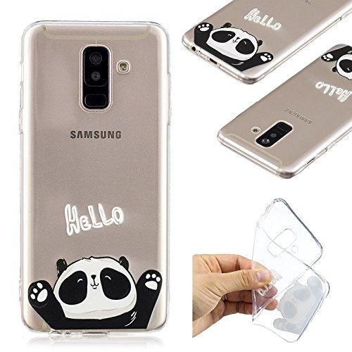 BONROY Samsung Galaxy A6 Plus 2018 Coque en Silicone,Ultra-Fine Mince Slim Housse Etui de Protection Silicone Gel TPU Souple Bumper Case Souple Coque de Protection avec Absorption de Choc et Anti-(rel Panda