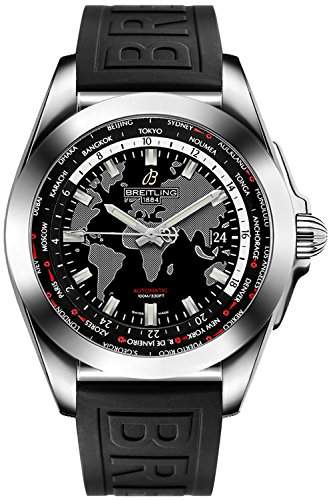 Breitling Galactic Unitime 44 mm Men's Watch on Diver Pro III Black Rubber Strap