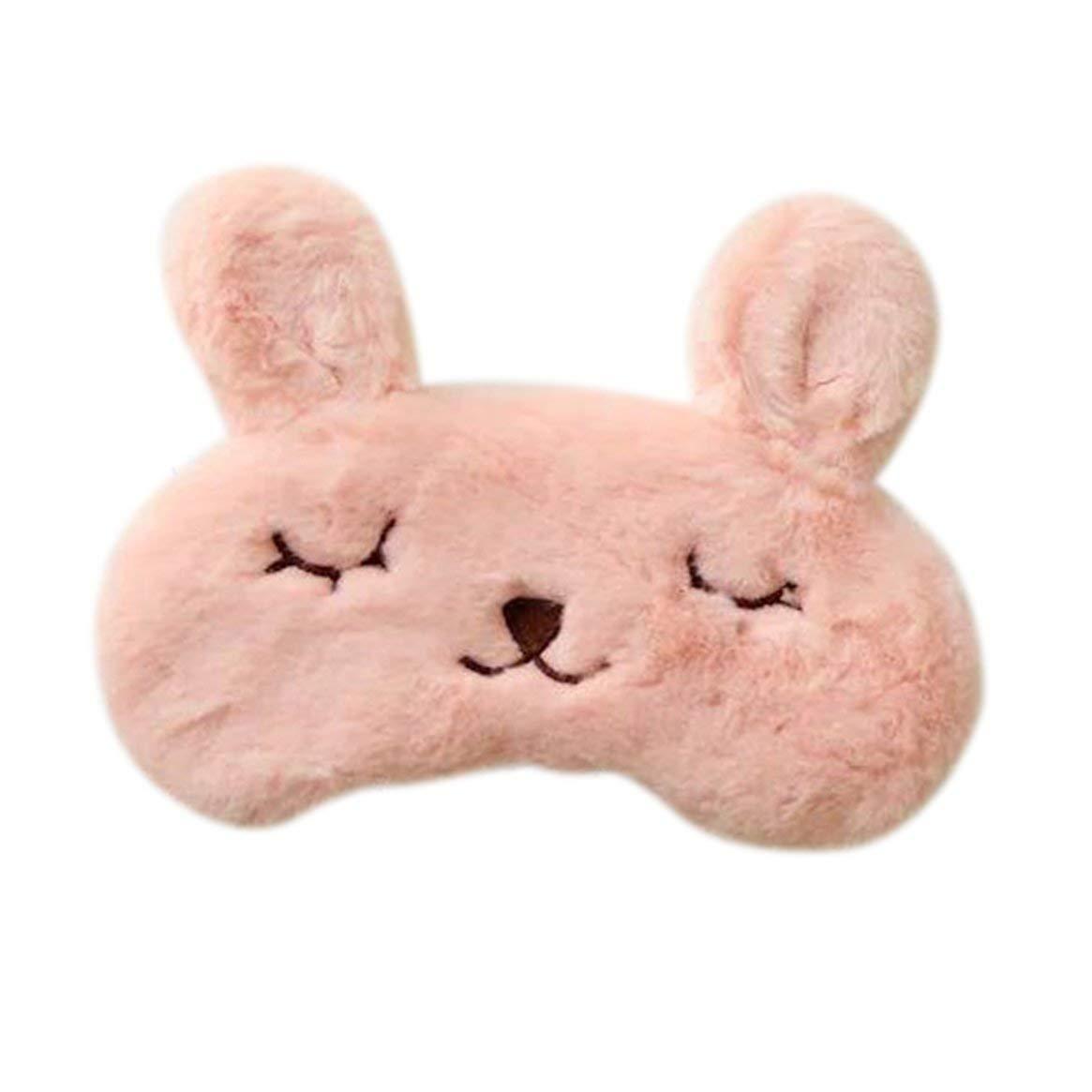 Delicacydex Encantador Conejo Lindo Diseño Máscara de Ojo Transpirable para Dormir Suave Acolchado Dormir Viajar Cubrir Cubierta Descanso Relajarse Dormir con los Ojos vendados - Naranja
