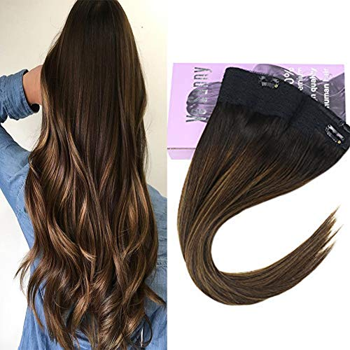VeSunny 12inch Hidden Halo Crown Hair Extensions Remy Human Hair Color #2 Darkest Brown Fading to #6 Mix #2 Brown Balayage Wire Human Hair Extensions 11inch Width 80G/Set ()