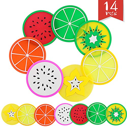 (Sc0nni Fruit Slice Silicone Coaster, Non-Slip Drink Cups Pad, 14 Pack)