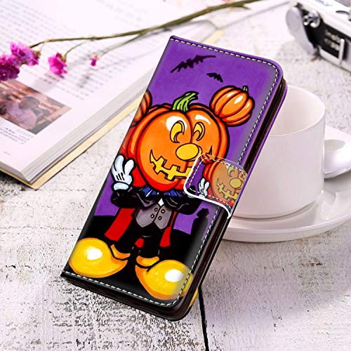 DISNEY COLLECTION Leather Wallet Case for Samsung Galaxy S10 (2019) 6.1in Free Mickey Mouse Halloween Screensaver Series]()