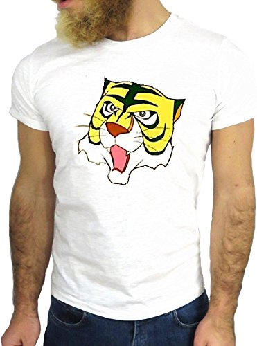 T-SHIRT JODE GGG24 Z0729 TIGER FUN COOL VINTAGE ROCK FUNNY FASHION CARTOON NICE AMERICA BIANCA - WHITE S