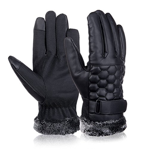 Vbiger Outdoor Leather Gloves Winter Mittens Touch Screen Gloves For Men (Black2)