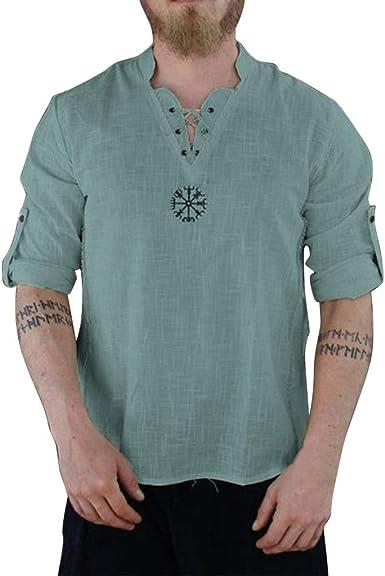 Sylar Camiseta Hombre Talla Grande Camiseta De Manga Larga para Hombre Camisas De Lino Color Sólido Camisetas Hombre con Cuello En V Camisa De Vestir Otoño Casual Camiseta De Blusa: Amazon.es: Ropa