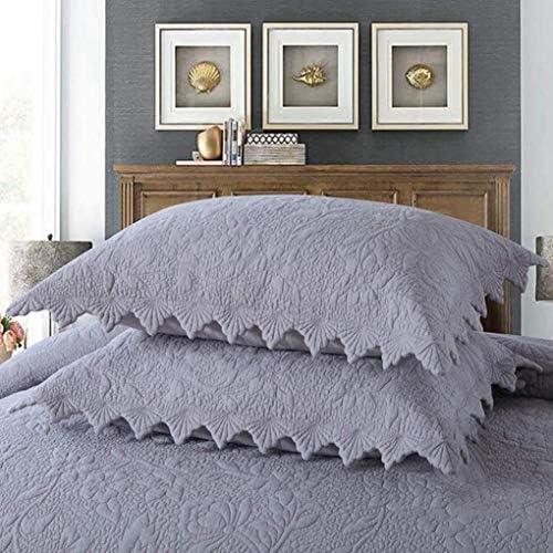 MYYINGBIN Couvre-lit Matelassé Gris 240 × 260 Cm avec 2 Taie d'oreiller Couvre-lit Réversible pour Chambre à Coucher, 240 * 260cm