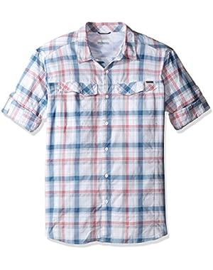 Men's Big-Tall Silver Ridge Plaid Long Sleeve Shirt, Sunset Red Window Pane, 2XT