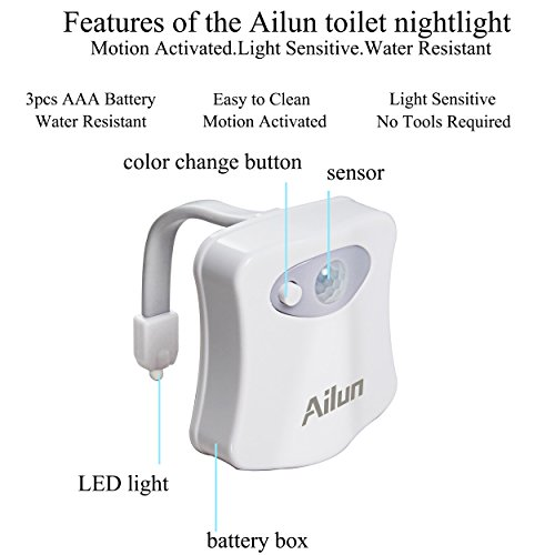 Toilet Night Light[2Pack]by Ailun,Motion Activated LED Light,16 Colors Changing Toilet Bowl Nightlight for Bathroom[Battery Not Included] Perfect Decorating Combination Along with Water Faucet Light