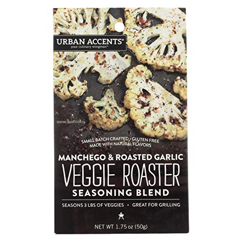 - Urban Accents Your Culinary Wingman Manchego Roasted Garlic Veggie Roaster Seasoning Blend, 1.75 Ounce - 6 per case.