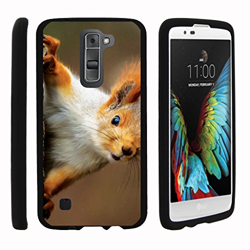 TurtleArmor | LG K7 Case | LG Tribute 5 Case | LG Treasure Case [Slim Duo] Slim Compact 2 Piece Hard Snap On Case Matte on Black Animal Design - Red Squirrel